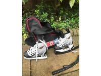 Ice Hockey Skates with blade guards and carrying bag - size 1