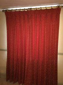 2 x pair Burgundy curtains