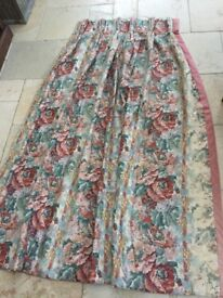Long heavy lined and interlined cottage curtains, possibly Colefax & Fowler