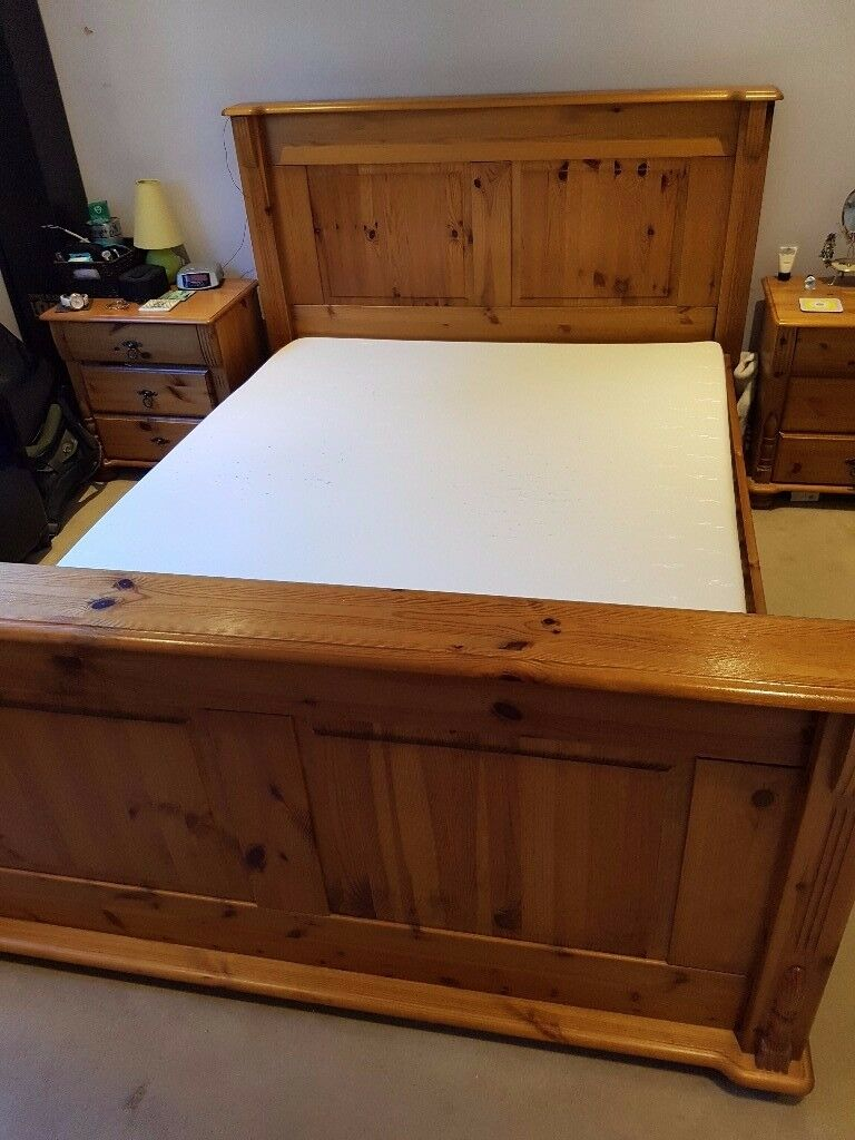 Solid pine double bed frame with headboard and footboard. Does not include mattress