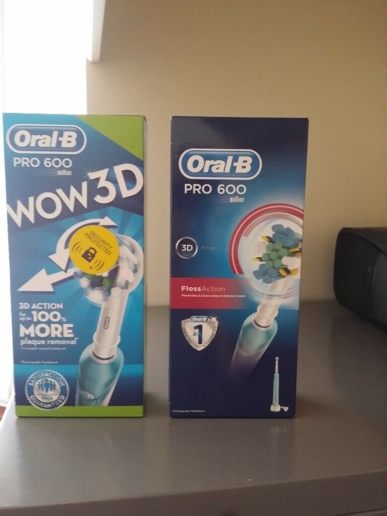 Oral-B Pro 600 Electric Rechargeable Toothbrush Powered by Braun, BRAND NEW FULL PACKAGING