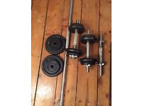Good quality dumbbells (3) and a barbell with 29 kilos worth of weights