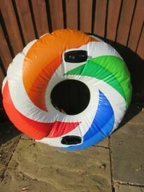 LARGE INFLATABLE RUBBER RING - with handles and instructions