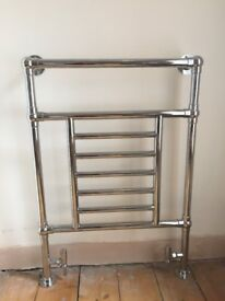 Traditional Chrome Towel Radiator and Valves