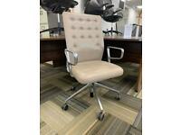 Vitra ID Trim Designer Office Chair, Aluminium Armrests, Cream Leather Seat