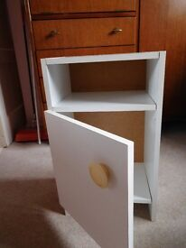 White bedside table with cupboard