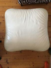 Italian real leather off white stool