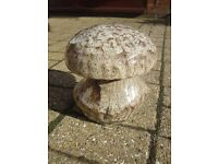 8 INCH CERAMIC MUSHROOM PREVIOUSLY HOUSED IN THE GARDEN, AS SUCH IT HAS ITS OWN UNIQUE PATINA