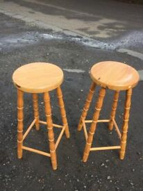 Matching pair of pine bar stools