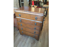Retro Style Wooden Chest of Drawers , with 5 drawers . In good condition . Free Local Delivery