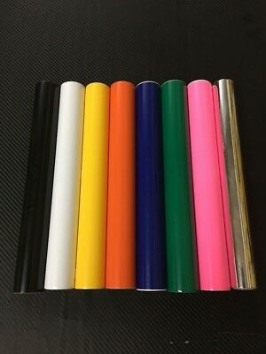 24x 5 Adhesive Vinyl 8 Rolls Black White Yellow Orange Blue Green Pink Silver