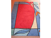Beautiful muti coloured pure wool imported Indian rug - 6 ft x 4ft - good condition