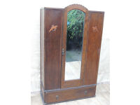 Wooden art deco wardrobe with drawer and lovely mirror (Delivery)
