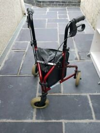 Second hand 3 wheeled folding walking frame with bag