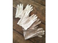 3 x vintage leather ladies gloves, size 7
