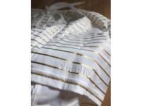 Charlie by MZ vintage soccer shorts gold foil white S