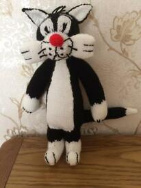 Hand knit sylvester the cat