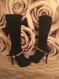 Glamorous Black Velvet shoes with Gold Trim £40