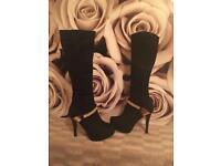 Glamorous Black Velvet shoes with Gold Trim £40