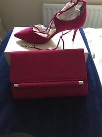 Next suede effect fushia pink shoes and matching clutch bag