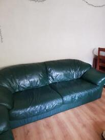 Italian Green Leather 3pc Suite
