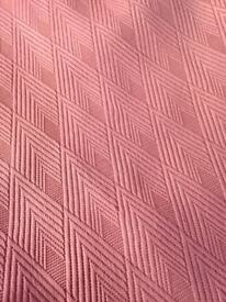 Curtains - Salmon Pink geometric design 1 pair & 1 single; incl linings
