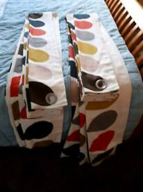 Orla Kiely multi stem pair lined eyelet curtains