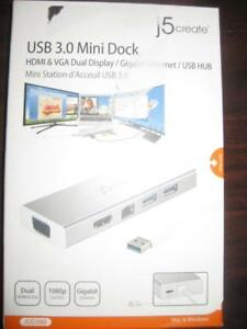 J5create USB 3.0 Mini Dock. External Dual Monitor Display. For Computer / Macbook / Laptop. HDMI. VGA. Ethernet. Charger