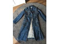 Karen millen long denim coat/jacket size 8
