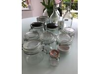 Collection of glass jars and bottles