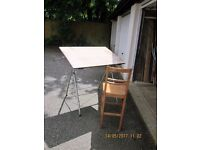 DRAWING BOARDS and METAL STAND with High backed chair