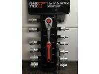 Forge Steel 1/4 socket set BRAND NEW AND BOXED