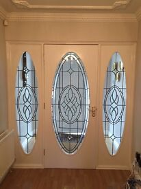 Leaded, beveled glass interior door and sidelight