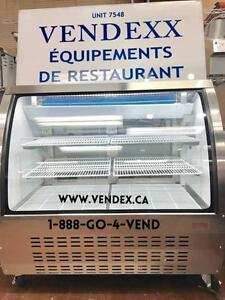 Dessert, Meat, Deli, Bakery, Pastry Display Cases Curved Glass Coolers, Showcase Fridges, Gravity Cooling Merchandiser