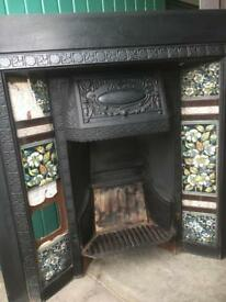 Genuine original vintage Victorian fireplace with tiles