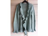 Light Green Knitted Cardigan Top UK 14 Ladies' Women's Clothes
