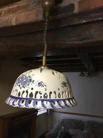 Ceramic Lampshade blue and white