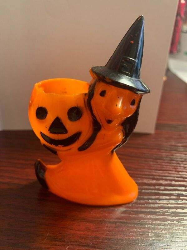 Vintage Rosbro Rosen Halloween Witch Candy Container
