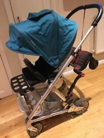 Mamas & papas urbo pushchair + carrycot + buggy board