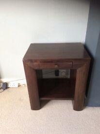 Solid dark wood side/lamp table