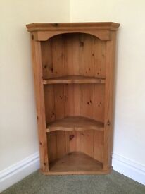 Wall mounted Pine corner unit in very good condition