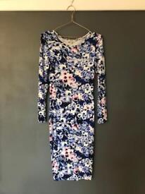 Size 12 • Papaya • Blue & White Pattern Midi Dress