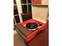 VINTAGE. 1960s. FIDELITY. HF 43. VINYL. PORTABLE. MAINS. RECORD PLAYER. WITH BSR. DECK