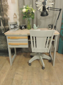 Funky shabby chic industrial style desk with swivel chair