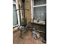 Barbell set with bench