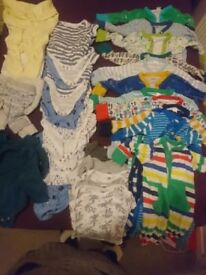 BABY BOY CLOTHES BUNDLE 3-6 MONTH,11 SLEEPSUITS/BABYGROWS WITH SCRATCH MITTS AND 15 VESTS/ BODYSUITS