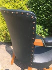 Studded leather armchair 1940s VINTAGE retro MAN CAVE