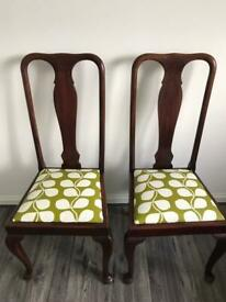 ❤️2 VINTAGE CHAIRS UPDATED QUEEN ANN IN ORLA KIELY STEM WIPEABLE PVC FABRIC