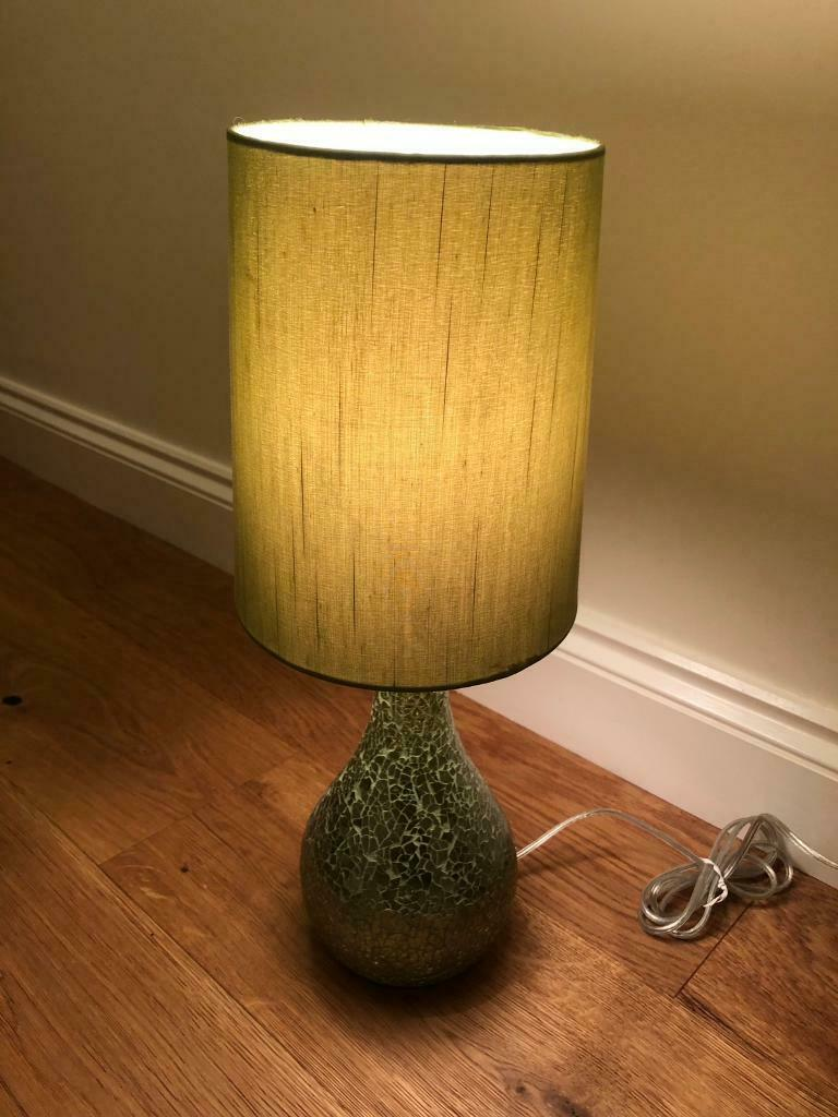 Next 2x Green Crackled Mirror Glass Table Bedside Lamp Stands Amp Lamp Shades In Eastbourne