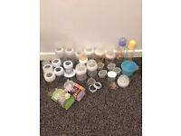 Big bundle of various baby bottles